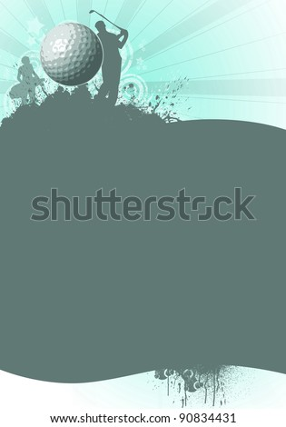 Golf background; golfer driving a ball off the tee (flyer, web, poster, magazine) - stock photo