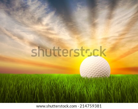 Golf Background with grass and sunset - stock photo