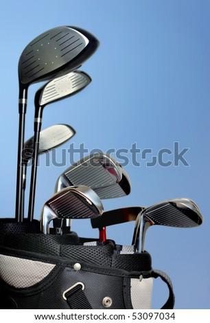 Golf Bag against blue sky - stock photo