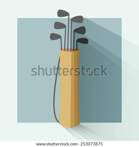 golf bag in a flat style with shadow - stock photo