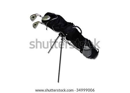 golf bag isolated on white - stock photo