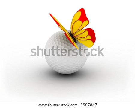 Golf ball and butterfly on it. - stock photo