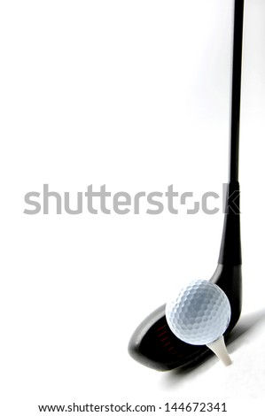 Golf ball and club - stock photo