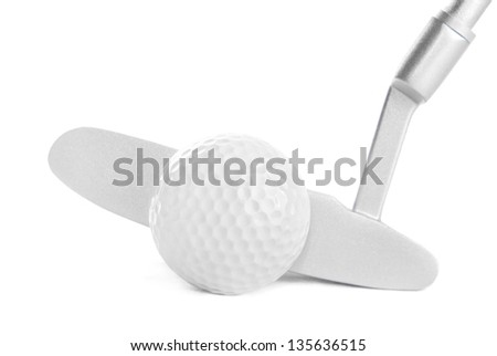 Golf ball and club, isolated on white background