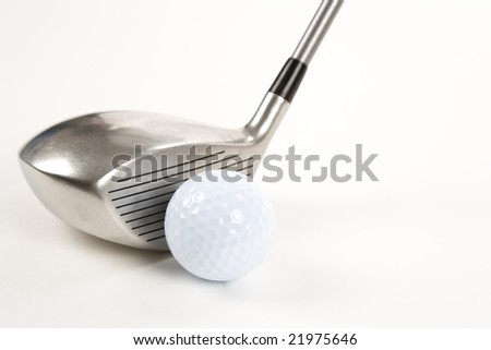 Golf Ball and Driver close up shot