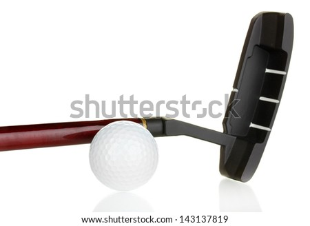 Golf ball and driver isolated on white - stock photo