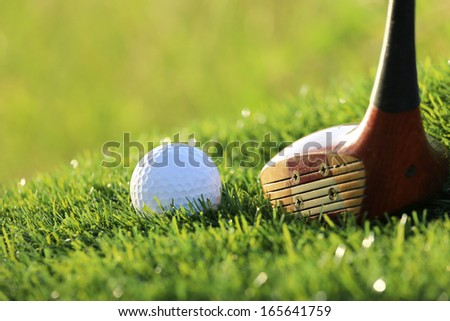 golf ball and driver on green grass - stock photo