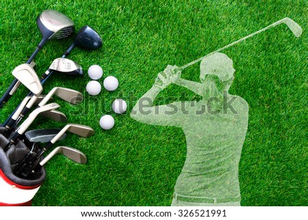 Golf ball and golf club in bag on green grass with transparent golfer - stock photo