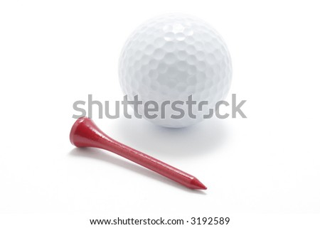 Golf Ball and Golf Tee on White Background