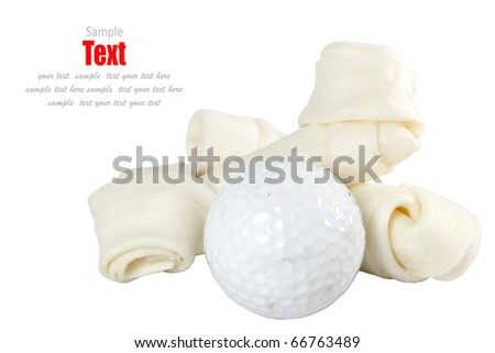 golf ball and Healthy dog treats Concept. - stock photo