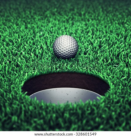 Golf ball and hole on grass , Golf tournament , Golf course - stock photo