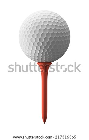 Golf ball and red tee, isolated on white - stock photo