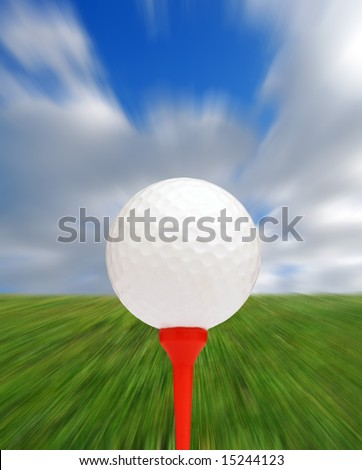 Golf ball and tee with zoom blur background for effect - stock photo