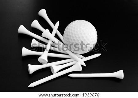 Golf ball and tees - stock photo