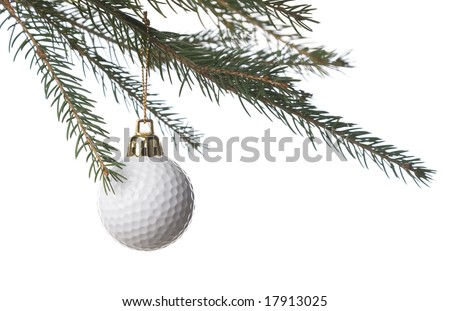 Golf ball as a xmas ornament in fir tree isolated on white background - stock photo