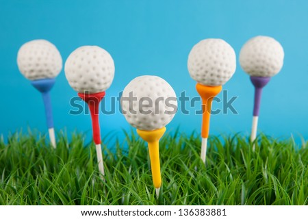 Golf ball cake pops - stock photo