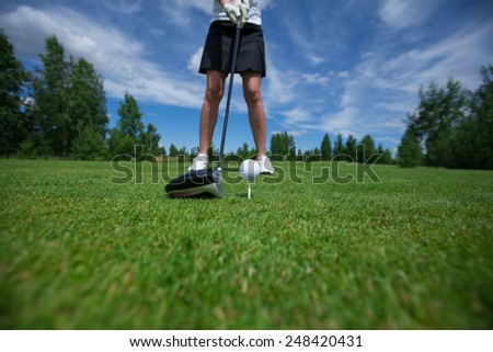 golf  ball club golfplayer close-up right pose before impact - stock photo