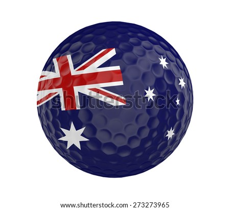 Golf ball 3D render with flag of Australia, isolated on white - stock photo