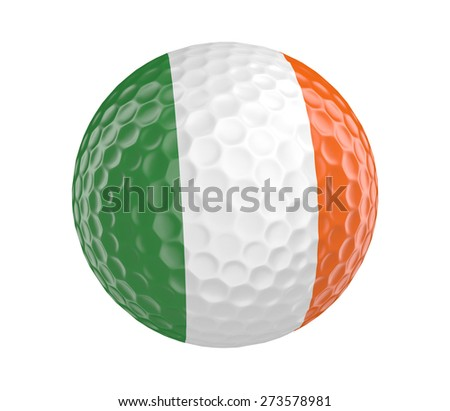 Golf ball 3D render with flag of Ireland, isolated on white - stock photo