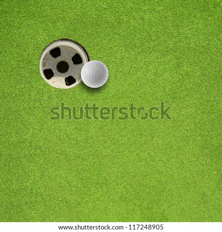 golf ball hole on a field