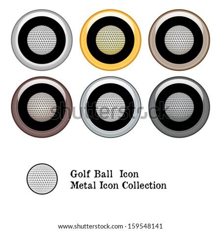 Golf Ball Icon Metal Icon Set.  Raster version. - stock photo