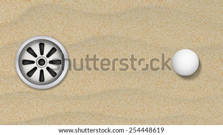 Golf ball in a sand with hole - stock photo