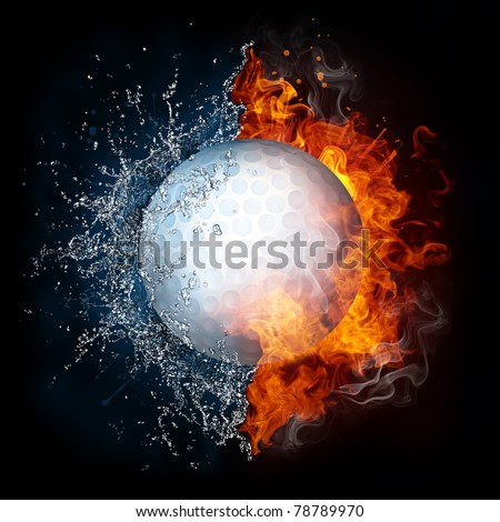 Golf ball in fire and water. Illustration of the golf ball enveloped in elements isolated on black background. High resolution golf ball in fire and water image for a golf game poster. - stock photo