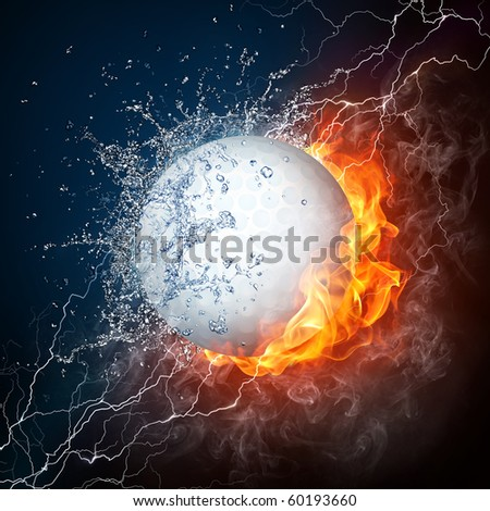 Golf ball in fire and water. Illustration of the golf ball enveloped in elements on black background. High resolution golf ball in fire and water image for a golf game poster. - stock photo
