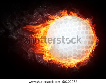 Golf ball in fire. Illustration of the golf ball enveloped in flames isolated on black background. High resolution golf ball in fire image for a golf competition poster or banner. - stock photo