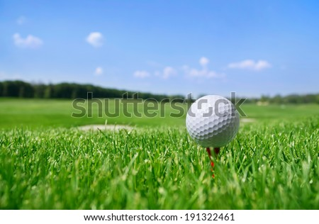 Golf ball in grass.  - stock photo