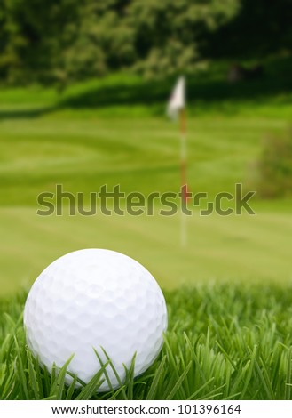 Golf Ball in Grass -  Green With Flag in Background