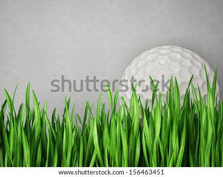 golf ball in  grass isolated on a grey