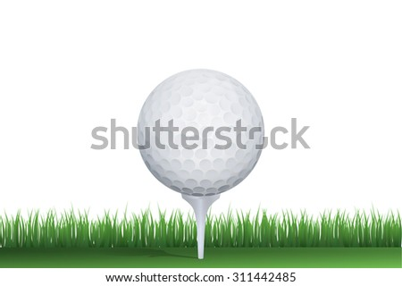 Golf ball in green grass of golf course with white area for copy space. - stock photo