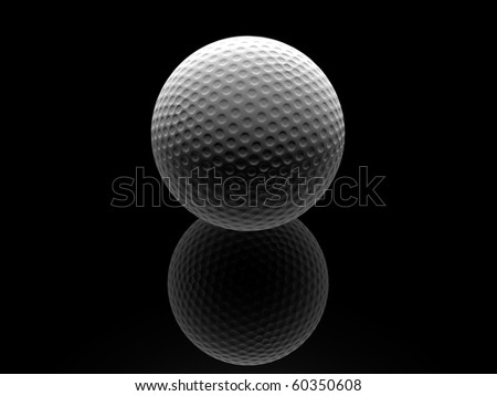 Golf ball in isolated in black space - stock photo