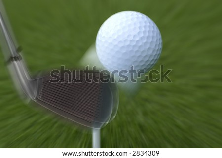 Golf ball in move