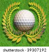 Golf ball in the middle of a golden laurel wreath arranged on green grass - stock vector