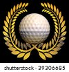 Golf ball in the middle of a golden laurel wreath on a black background - stock vector
