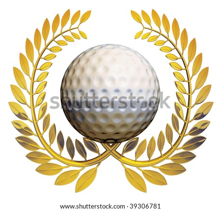 Golf ball in the middle of a golden laurel wreath on a white background - stock photo