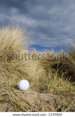Golf ball in the rough at an English links golf course. - stock photo