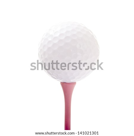 Golf Ball Isolated on Pink Tee - stock photo