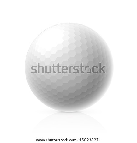 Golf ball isolated on white background.  - stock photo