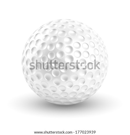Golf ball isolated on white background with clipping path. - stock photo