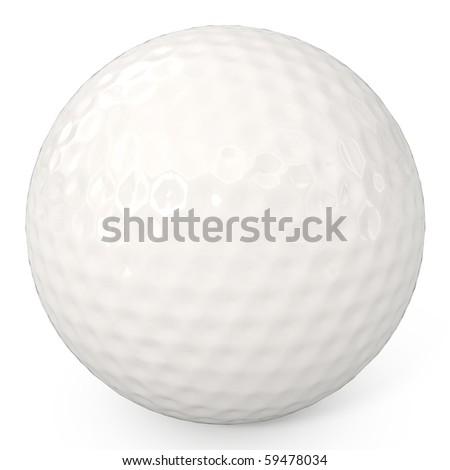 Golf Ball isolated on white - 3d illustration - stock photo