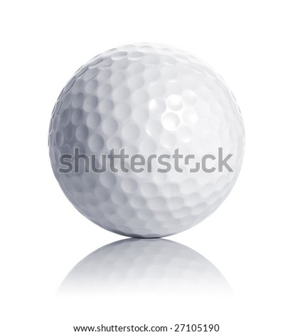 golf ball isolated on white with reflection - stock photo