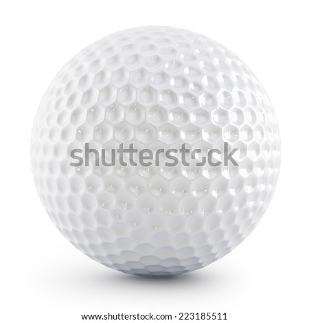 Golf ball isolated on white with soft shadow - stock photo