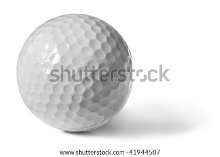 Golf ball, isolated on white with soft shadow. - stock photo
