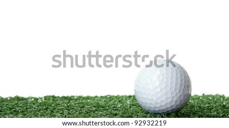 Golf ball isolated white background
