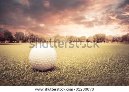 Golf ball lying on green field at sunset - stock photo