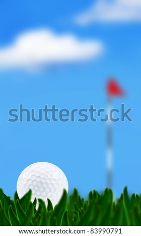 Golf ball on a golf course with the green in the background - very shallow depth of field - stock photo