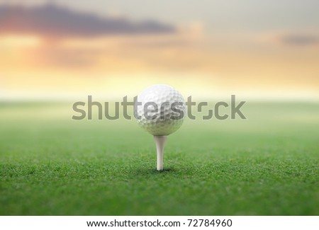 Golf ball on a green meadow - stock photo